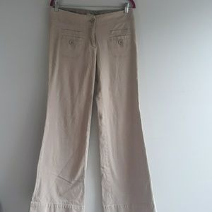 Anthropologie Khaki Flare Pants